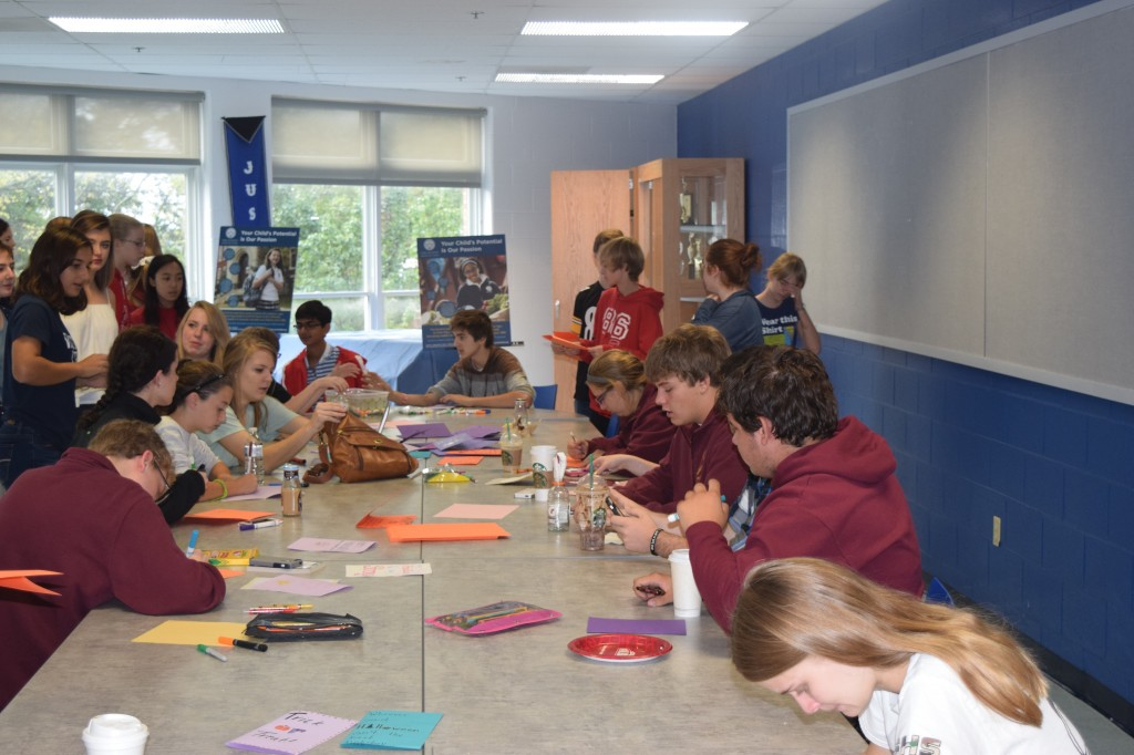 Cincinnati Latin students making Halloween cards during the 18th annual Summit certamen