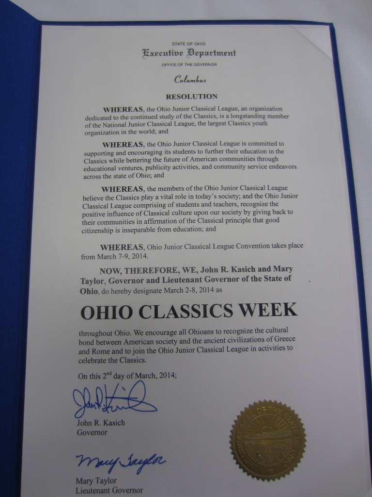 Governor Kasich has declared the 1st week of March 'Ohio Classics Week'! Euge!
