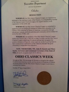 Governor Kasich's declaration that April 19-25 is OHIO CLASSICS WEEK!