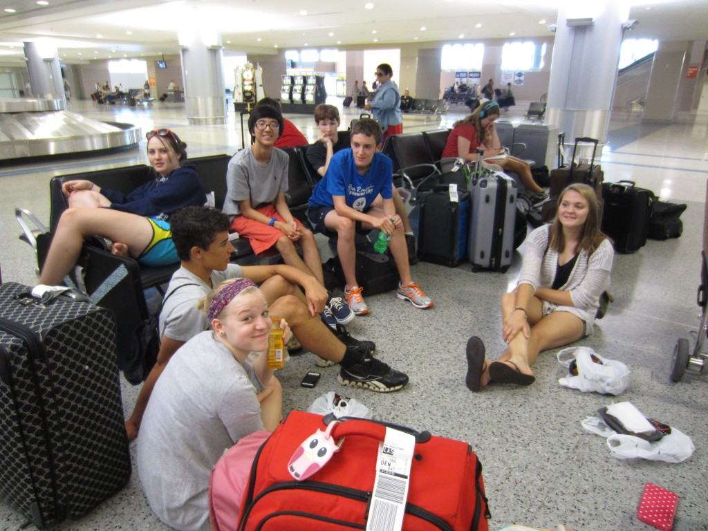 Students relax at the Vegas airport.
