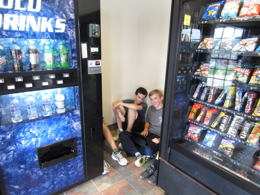 Private time in the corner in the vending machine room.