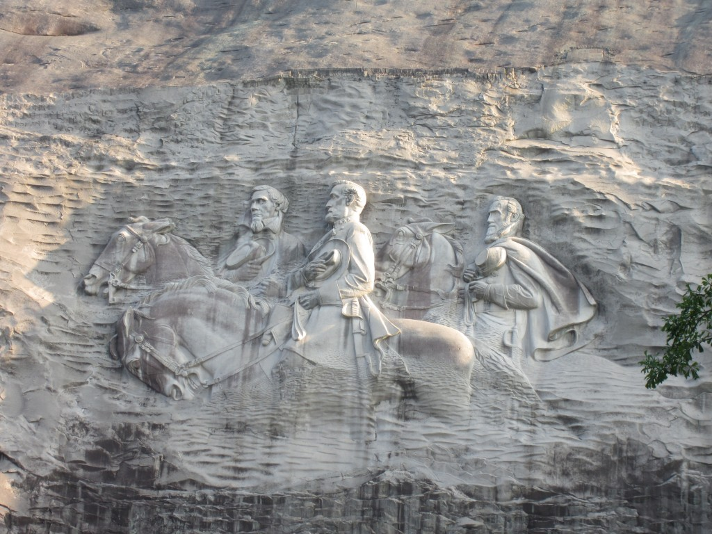 The Confederate Memorial on the side of Stone Mountain.