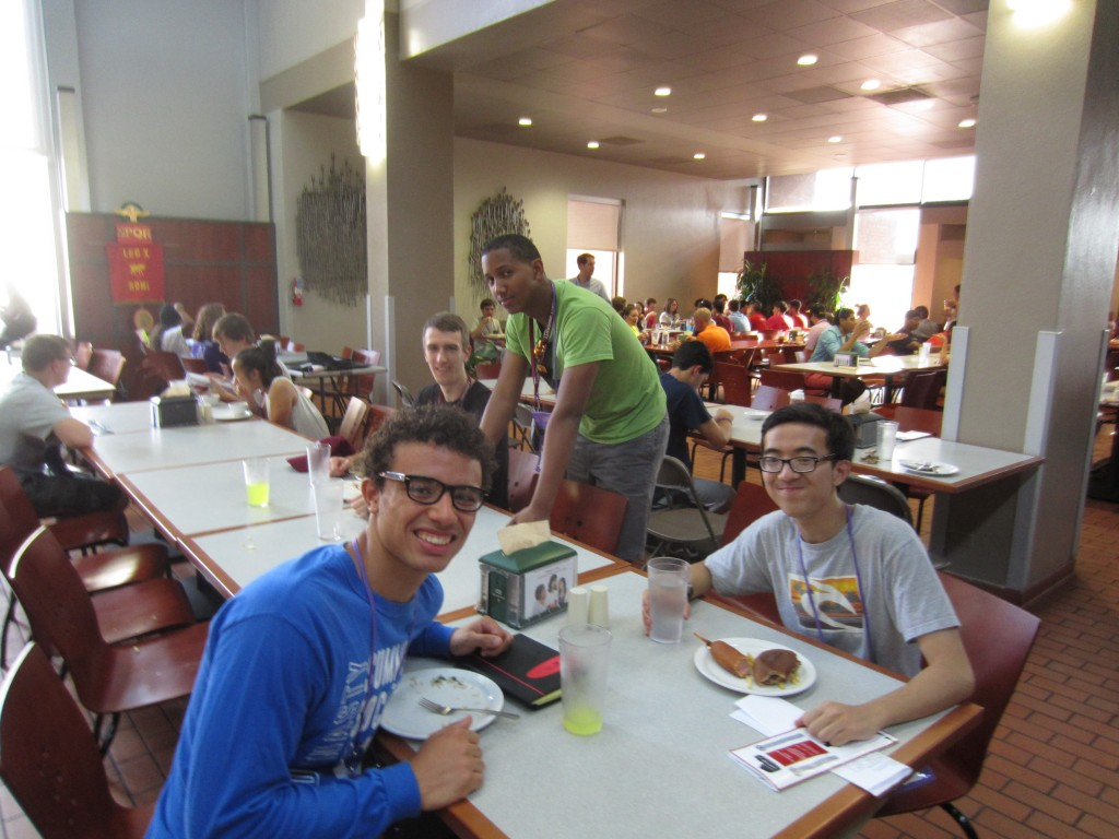 Jesse enjoys lunch with Summit alumnus Tino Delamerced, Matthew McMillan, and Will Beatrez.
