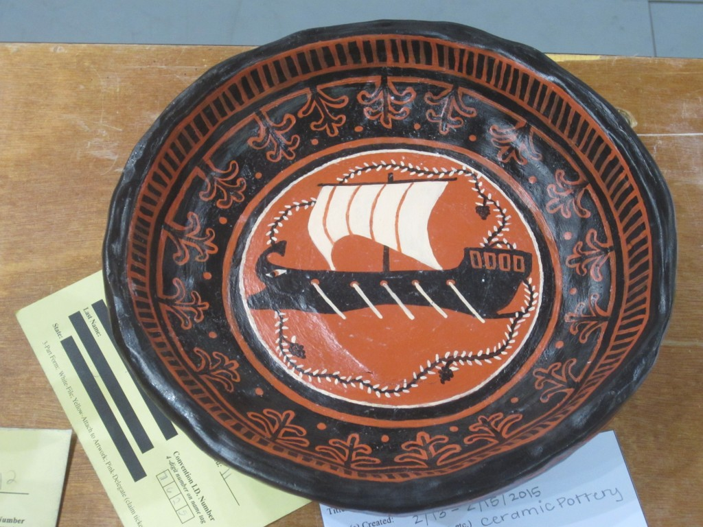 Pottery with Greek ship