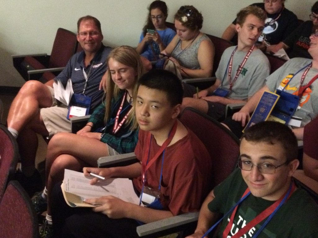 Owen, Alan, Kathryn, and me at the certamen orientation.