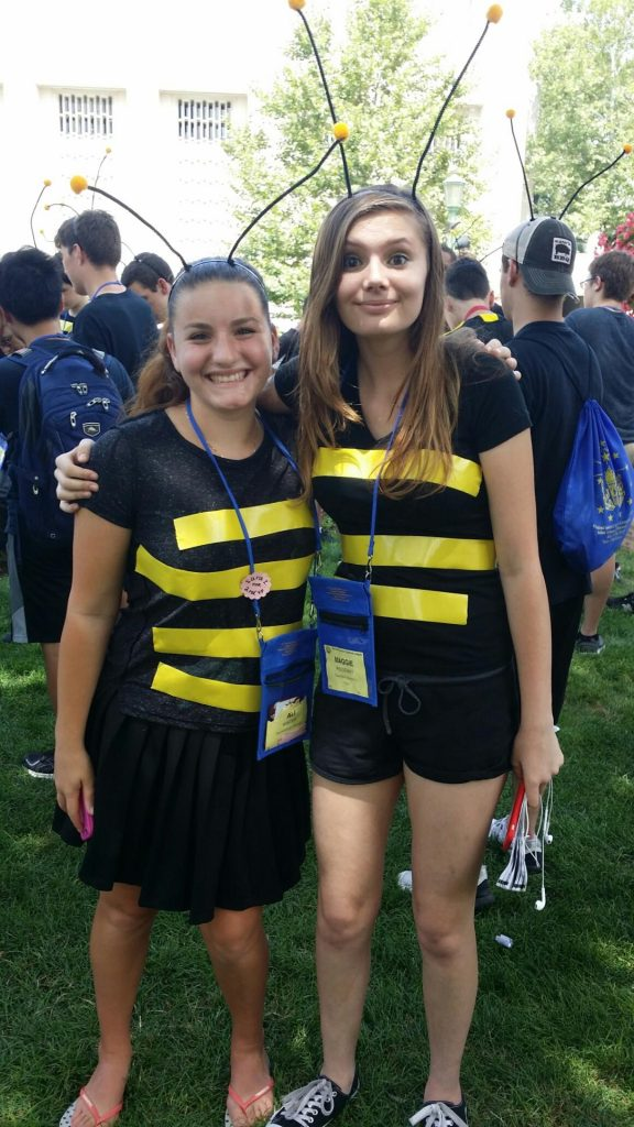 OH dressed as bees for the theme 'Blooming-a-ton'
