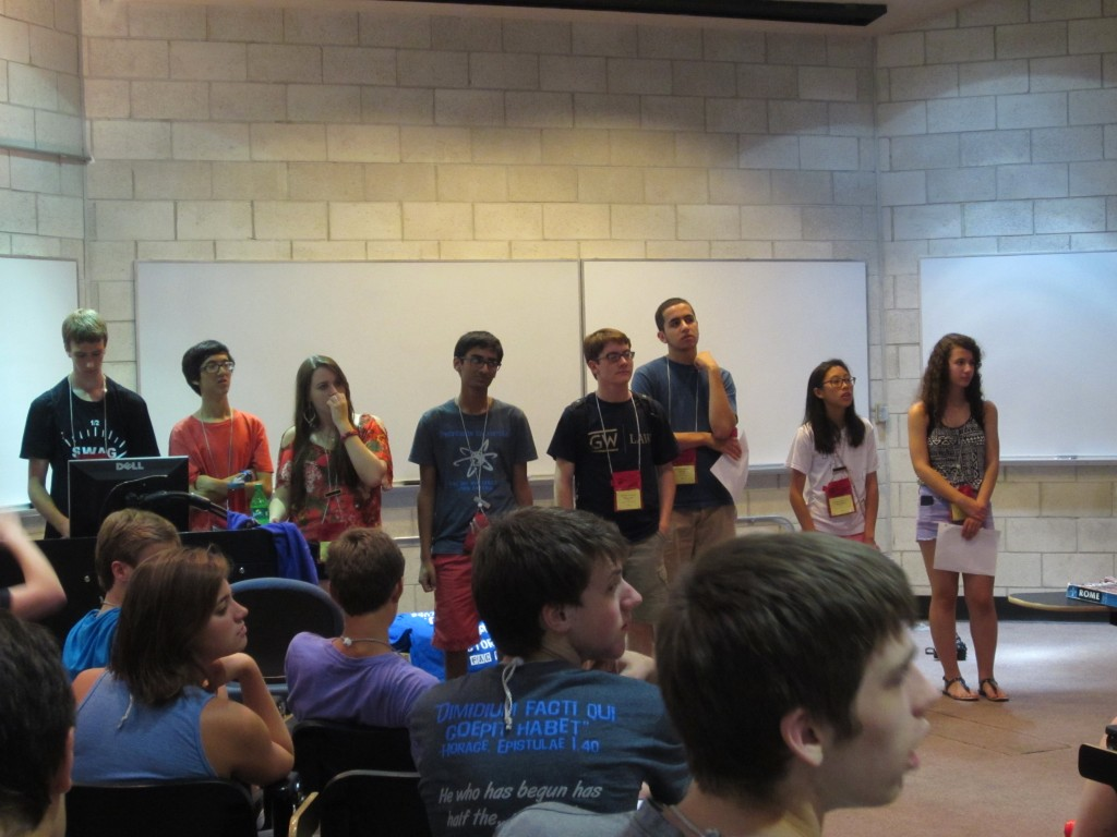 The OJCL Executive Board (most of them, at least):  Tino, Kelly, Narayan, Will E, Will B, Allison, and Eleni.