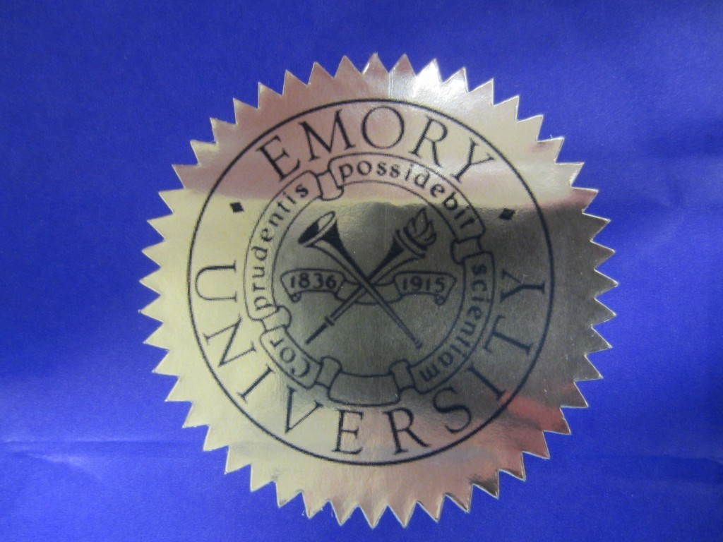 Seal of Emory University:  The Heart of a Wise Person will Seek Knowledge.