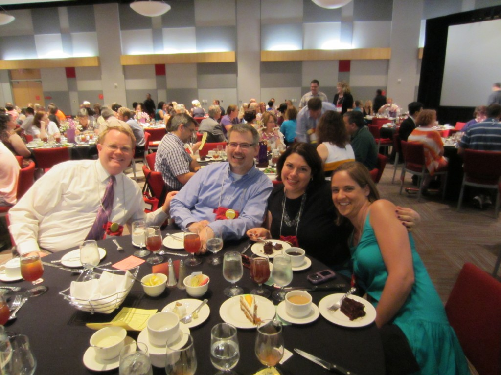 Brian, Steve, Melissa, and Emelie at the banquet