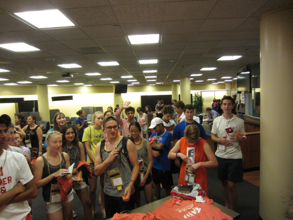 Students gather to sign up for the Ludi events: volleyball, ultimate frisbee, soccer, and basketball.