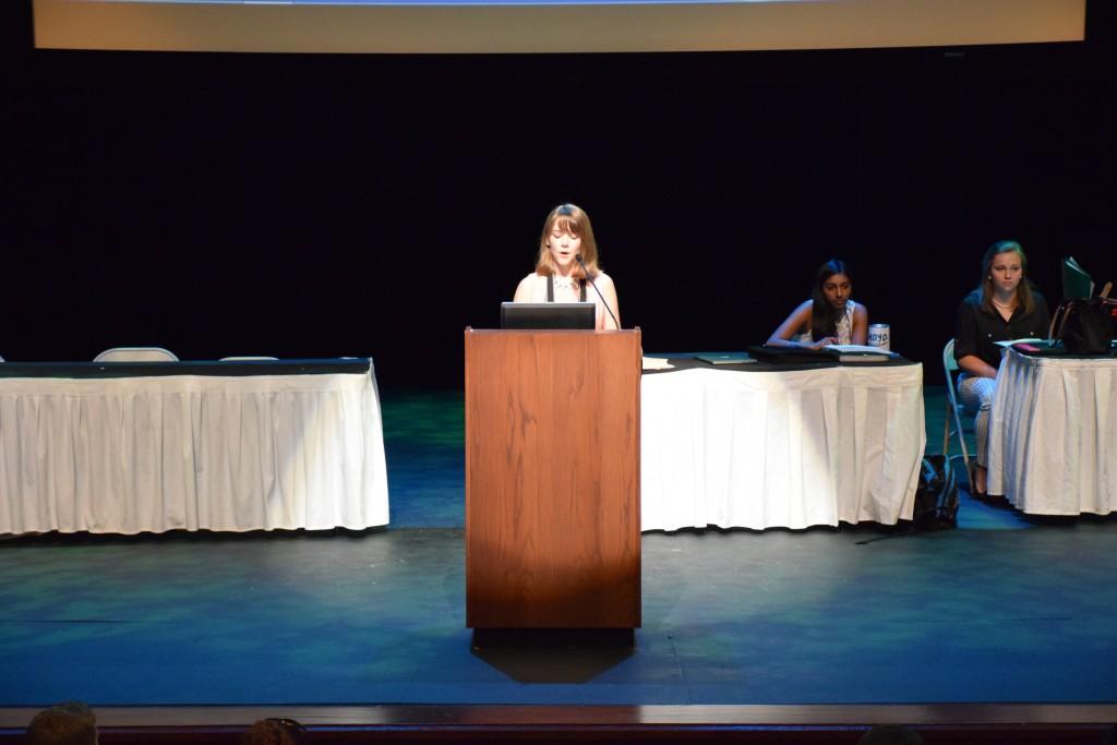 Hannah gives her speech at NomCom