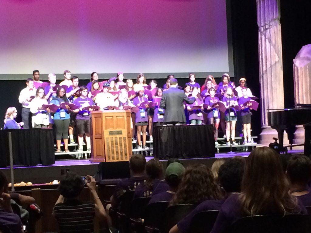 Liz Szabo (formerly Columbus Academy, now MI) and Taylor McGowan (Columbus Academy) perform in the NJCL Chorus.a