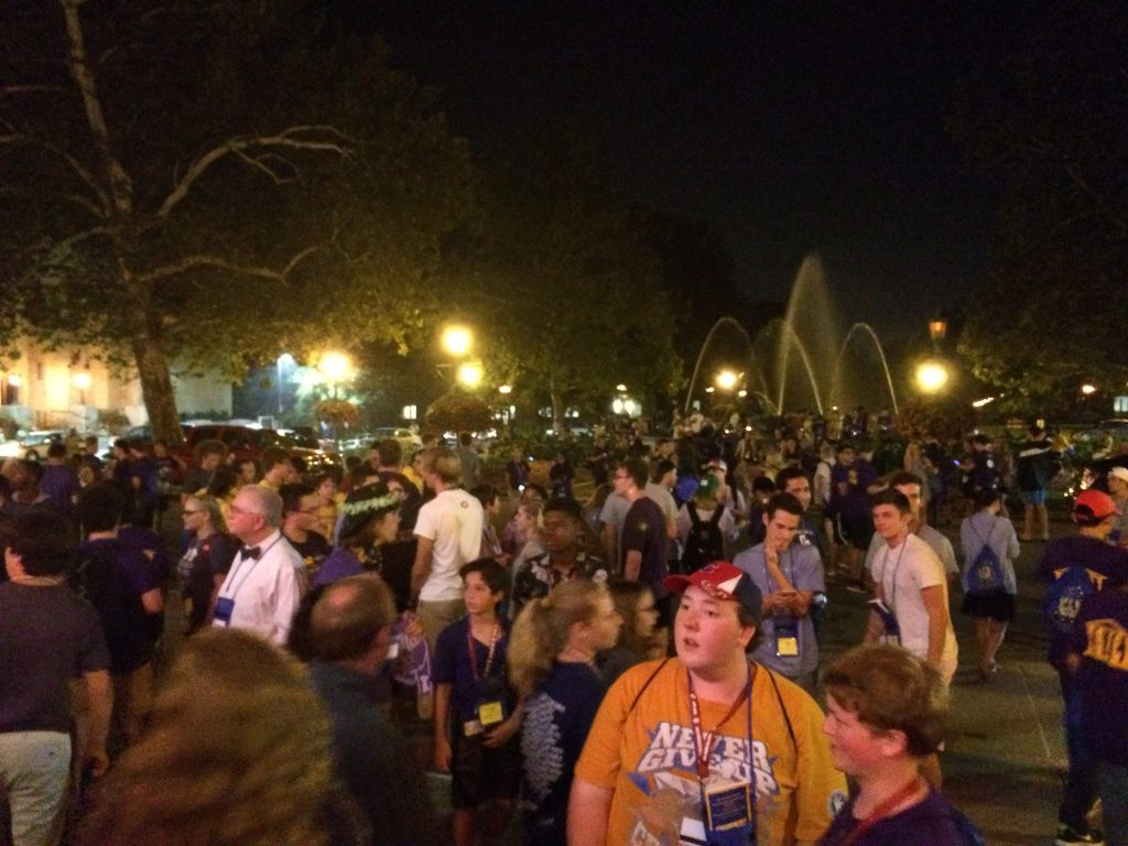 The crowd disperses after the talent show.  The Birth of Venus fountain is in the background.